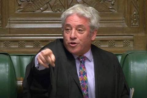 Speaker of Britain's House of Commons John Bercow gestures makes a statement in the House of Co ...