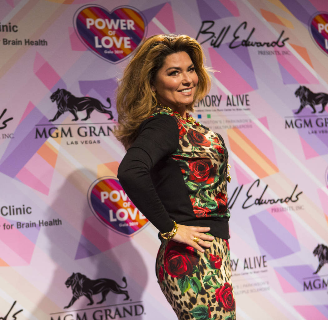 Shania Twain poses on the red carpet for Keep Memory Alive's 23rd annual Power of Love Gala at ...