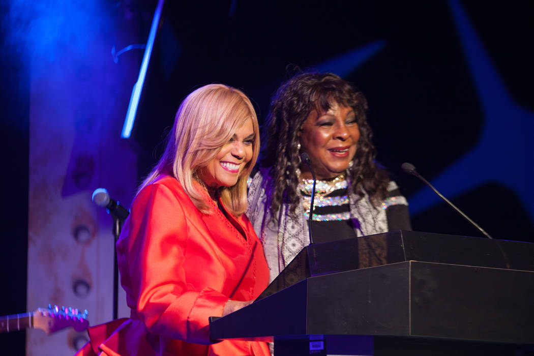 Martha Reeves, right, shown with presenter Claudette Robinson, accepts her Casino Legends award ...