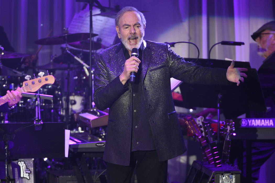 Neil Diamond performs at the Clive Davis and The Recording Academy Pre-Grammy Gala at the Bever ...