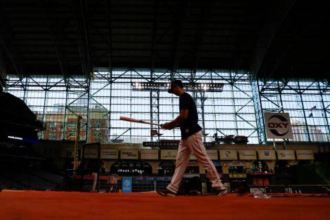 Houston Astros right fielder Kyle Tucker prepares to take batting practice for baseball's World ...
