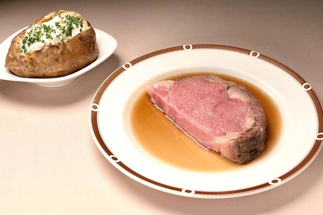 Prime rib at Primarily Prime Rib at South Point is served in four cuts ranging plus one as blac ...