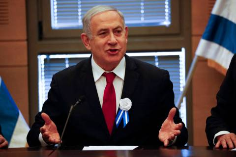 FILE - In this Oct. 3, 2019, file photo, Israeli Prime Minister Benjamin Netanyahu speaks durin ...