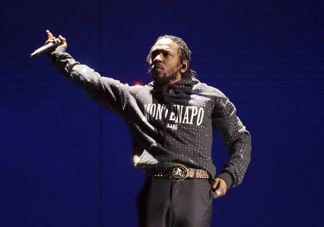 In this Feb. 21, 2018 file photo, Kendrick Lamar performs at the Brit Awards 2018 in London. La ...