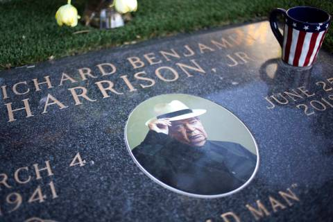 "The grave of Richard ""Old Man"" Harrison sits at Palm Northwest Cemetery on Monday, Oct. 21, 201 ..."
