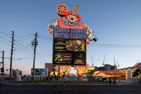 The Clown marquee at the entrance to MGM's Circus Circus hotel-resort in Las Vegas on Monday, J ...
