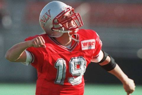Sports 11 16 96 UNLV quarterback 19 Jon Denton gets fired up in the fourth quarter of the after ...