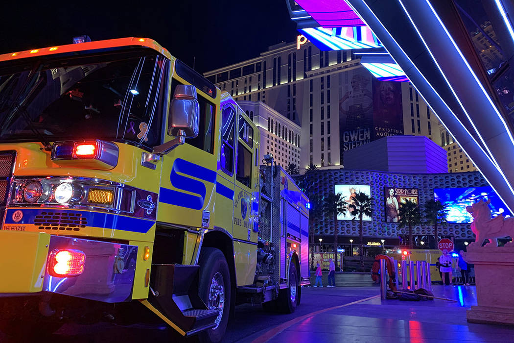 Crews respond to a report of a fire Monday, Oct. 21, 2019, at The Cosmopolitan on the Las Vegas ...