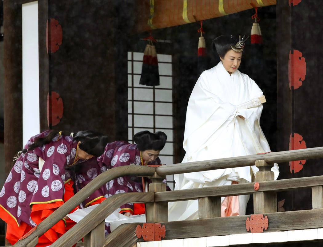 """Japan's Empress Masako leaves after praying at """"Kashikodokoro"""", one of three shri ..."""