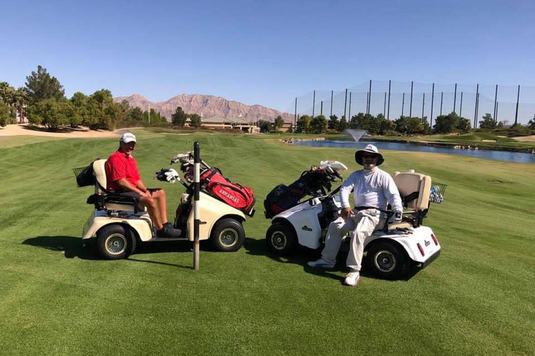 Champion Billy Fryar (left) and runnerup Larry Celano played in the U.S. Adaptive Golf Alliance ...