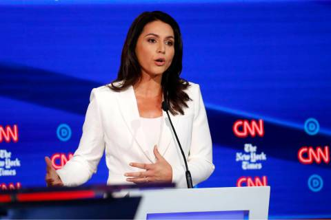 Democratic presidential candidate Rep. Tulsi Gabbard, D-Hawaii, participates in a Democratic pr ...