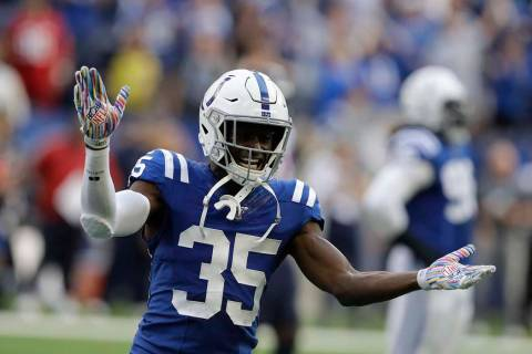 Indianapolis Colts' Pierre Desir (35) reacts during the second half of an NFL football game aga ...
