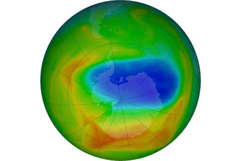 This image made available by NASA shows a map of a hole in the ozone layer over Antarctica on S ...