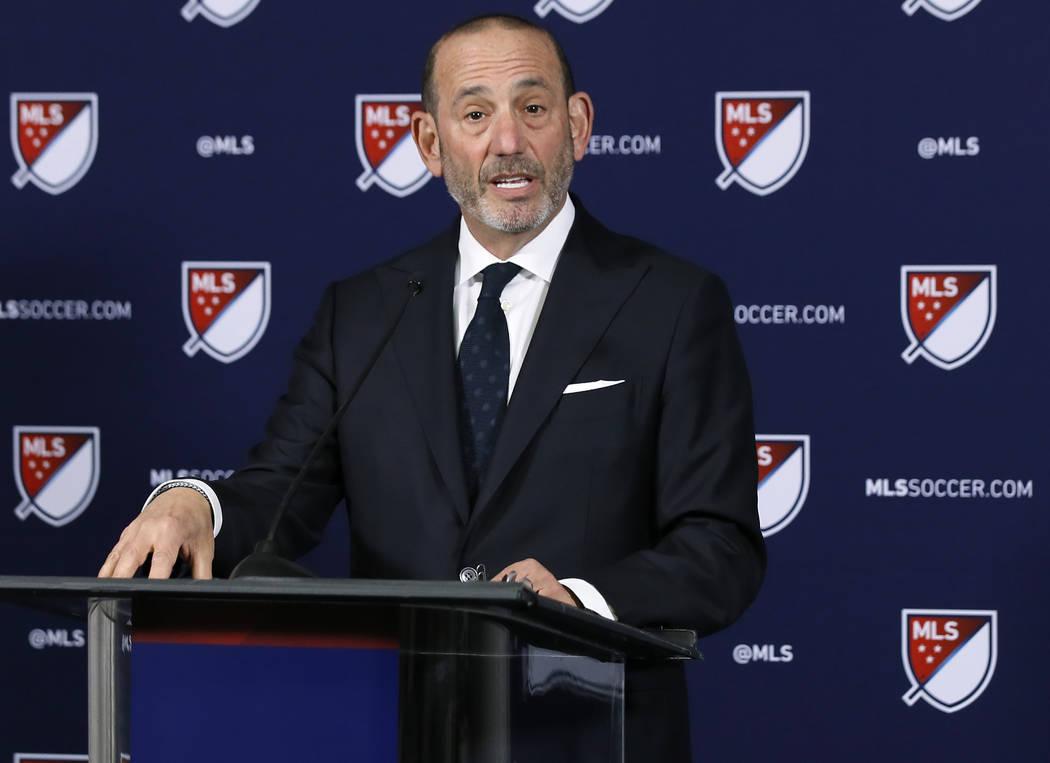 Major League Soccer Commissioner Don Garber speaks at a news conference in Los Angeles, Thursda ...