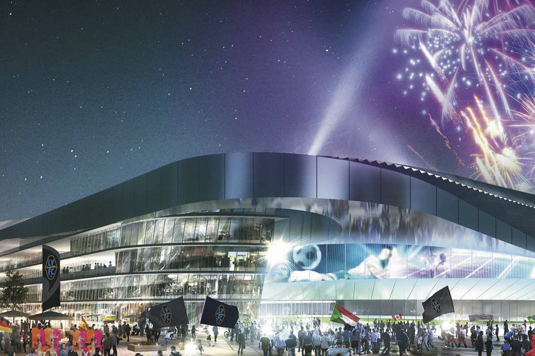 A rendering of a proposed downtown Las Vegas soccer stadium. (The Renaissance Companies Inc.)