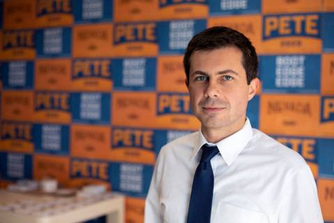 South Bend, Indiana, Mayor Pete Buttigieg, who is campaigning for the 2020 presidential electio ...