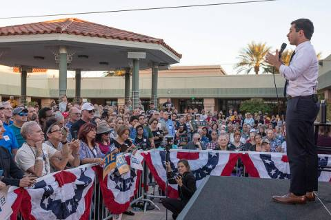 Pete Buttigieg speaks to the crowd at the East Las Vegas Community Center on Tuesday, Oct. 22, ...