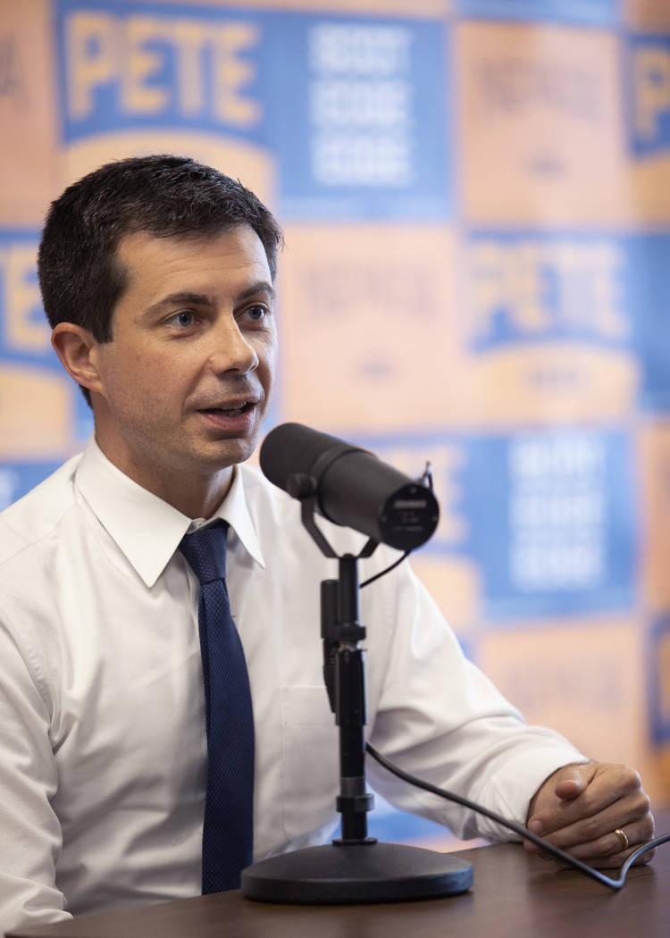 Presidential candidate Pete Buttigieg speaks with the Las Vegas Review-Journal at his campaign ...