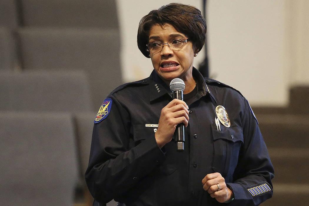 FILE - In this June 18, 2019, file photo, Phoenix Police Chief Jeri Williams addresses the audi ...