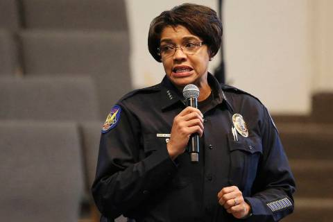FILE - In this June 18, 2019, file photo, Phoenix Police Chief Jeri Williams addresses the audi ...