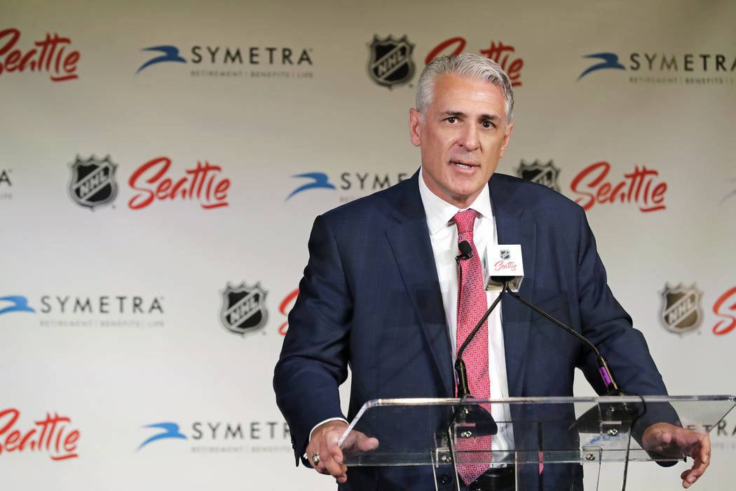 File-This July 18, 2019, file photo shows Ron Francis talking to reporters, in Seattle after he ...