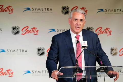 This July 18, 2019, file photo shows Ron Francis talking to reporters, in Seattle after he was ...