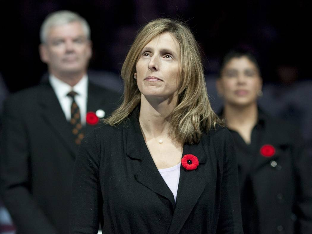 FILE - In this Nov. 6, 2010, file photo, Cammi Granato stands on center ice after being inducte ...
