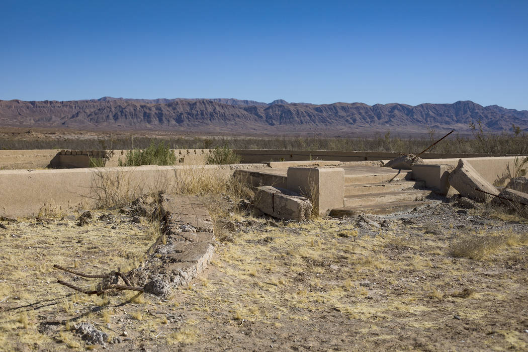 Remnants of the school house in St. Thomas, in the Lake Mead National Recreation Area, Tuesday, ...