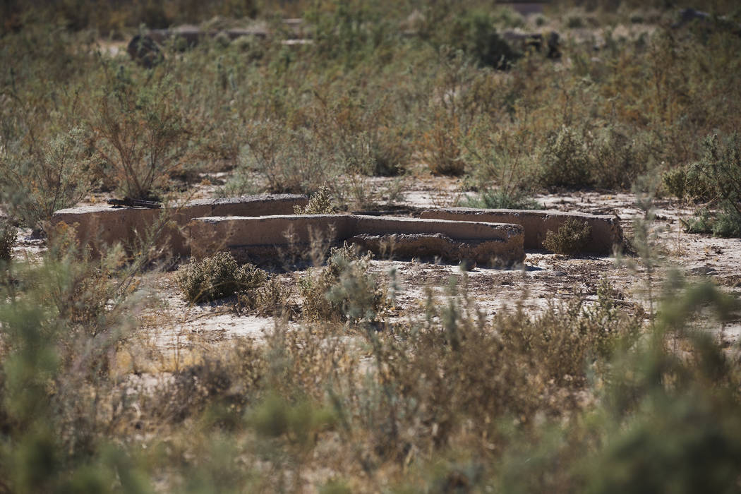 Remnants of a home in St. Thomas, in the Lake Mead National Recreation Area, Tuesday, Oct. 22, ...