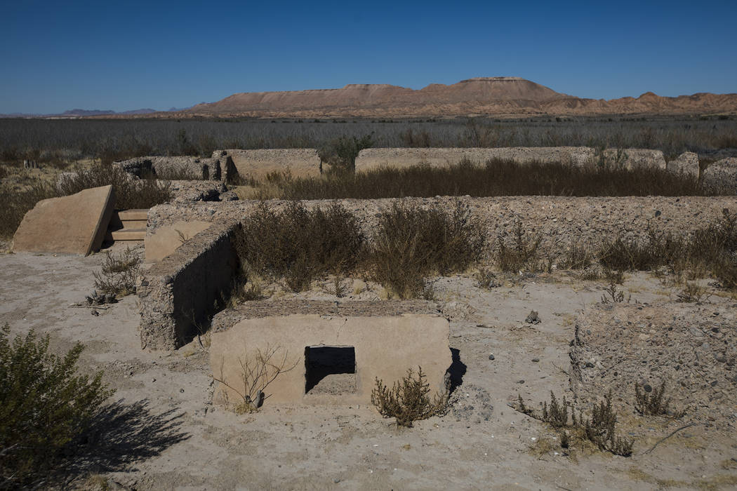 Remnants of a structure in St. Thomas, in the Lake Mead National Recreation Area, Tuesday, Oct. ...