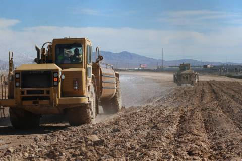 Construction at the intersection of Washburn Road and Statz Street in North Las Vegas, Wednesda ...