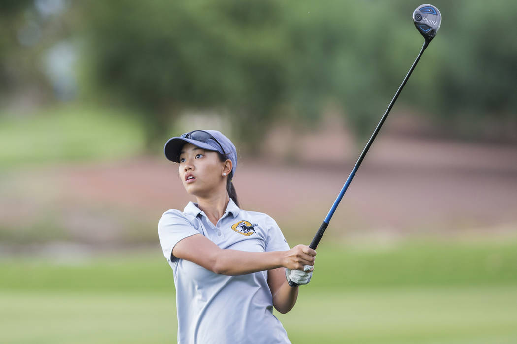 Clark sophomore Riana Mission drives the ball at Stallion Mountain Golf Club on Wednesday, Oct. ...