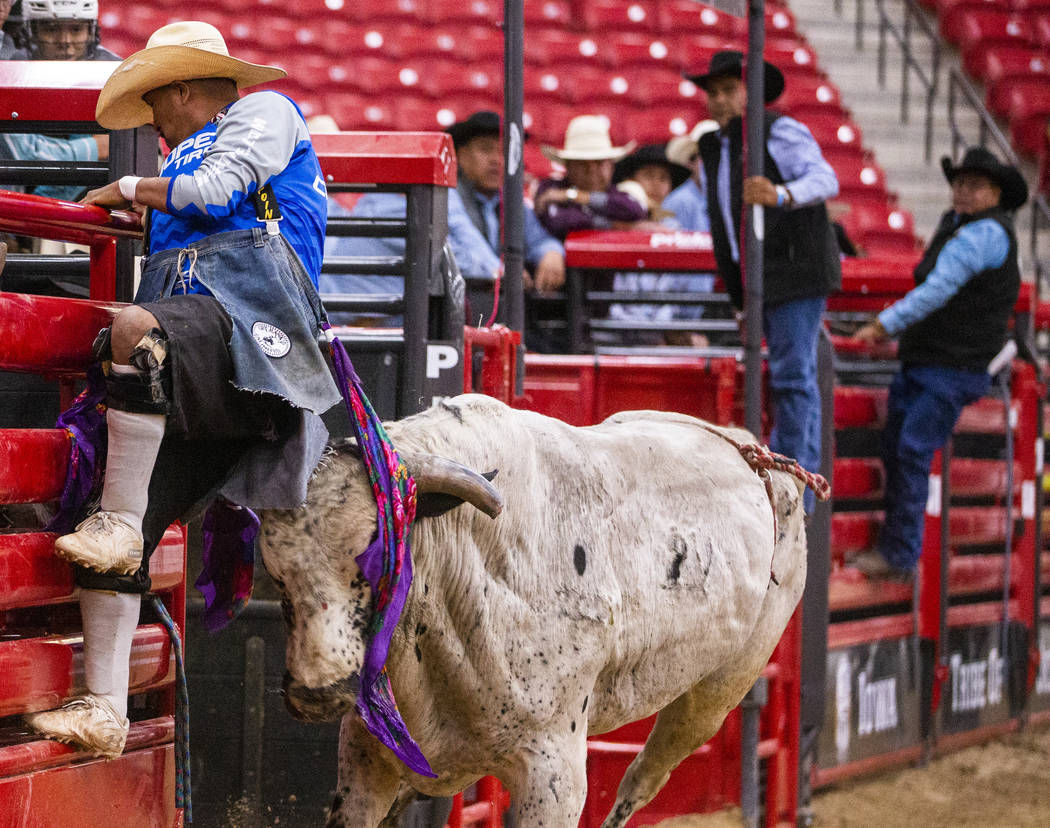 A rodeo clown nearly gets the horns of a bull after the rider dismounted him during the first r ...
