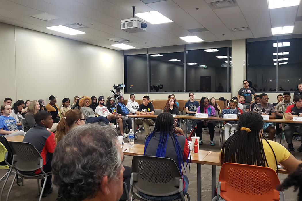 Students meet with UNLV officials on Tuesday, Oct. 22, 2019, at Hospitality Hall to voice their ...