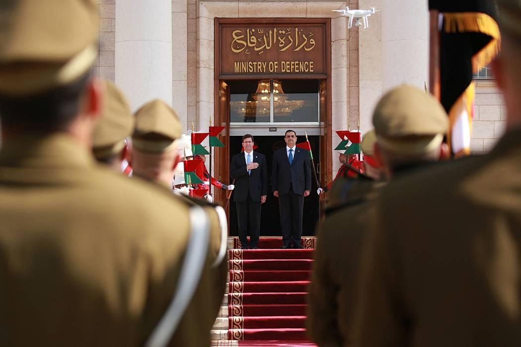 Iraqi Defense Minister Najah al-Shammari, center right, and U.S. Defense Secretary Mark Esper, ...