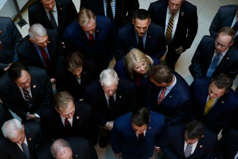 Rep. Debbie Lesko, R-Ariz., center, gathers with fellow House Republicans for a news conference ...