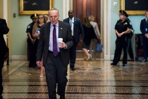 Senate Minority Leader Sen. Chuck Schumer of N.Y., walks to the Senate Chamber on Capitol Hill ...
