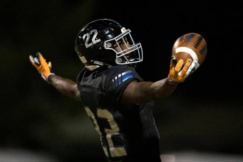 Running back Javontae Barnes (22) celebrates a Jaguar touchdown against Legacy on Thursday, Oct ...
