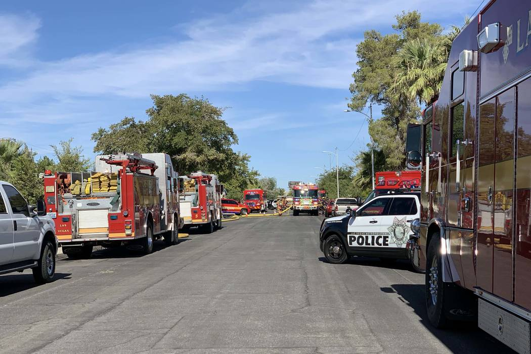 Las Vegas fire crews battle a fire at 241 View Drive, near South Decatur Boulevard and Alta Dri ...