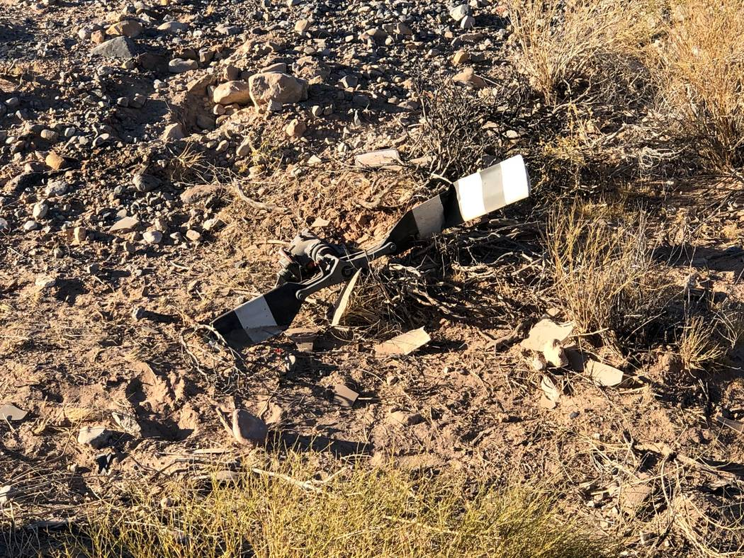 Debris from a helicopter crash near Red Rock Canyon. (Nevada Highway Patrol)