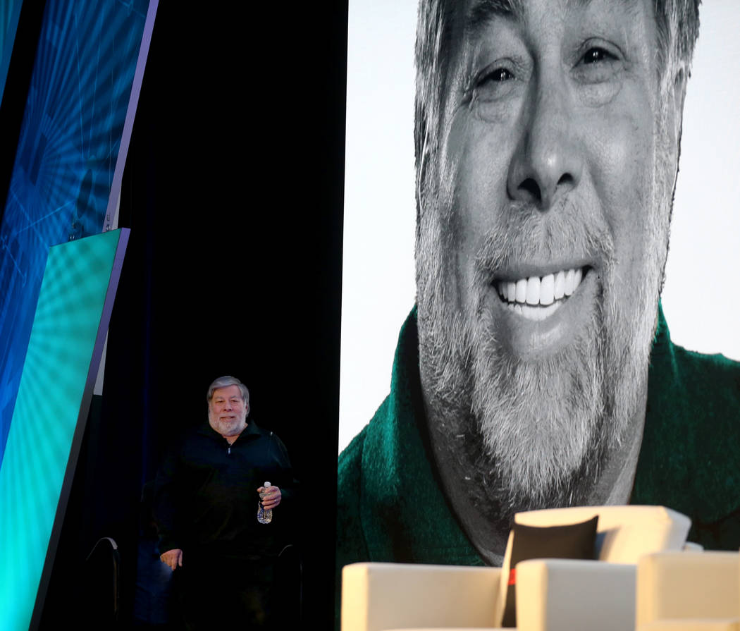 Steve Wozniak takes the stage to deliver the keynote address during the 2019 J.D. Power Auto Re ...