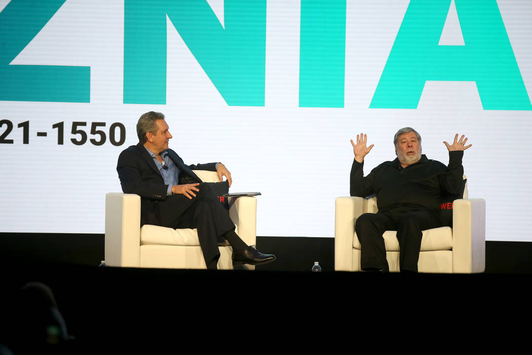 Steve Wozniak, right, is interviewed by J.D. Power President and CEO Dave Habiger during the 20 ...