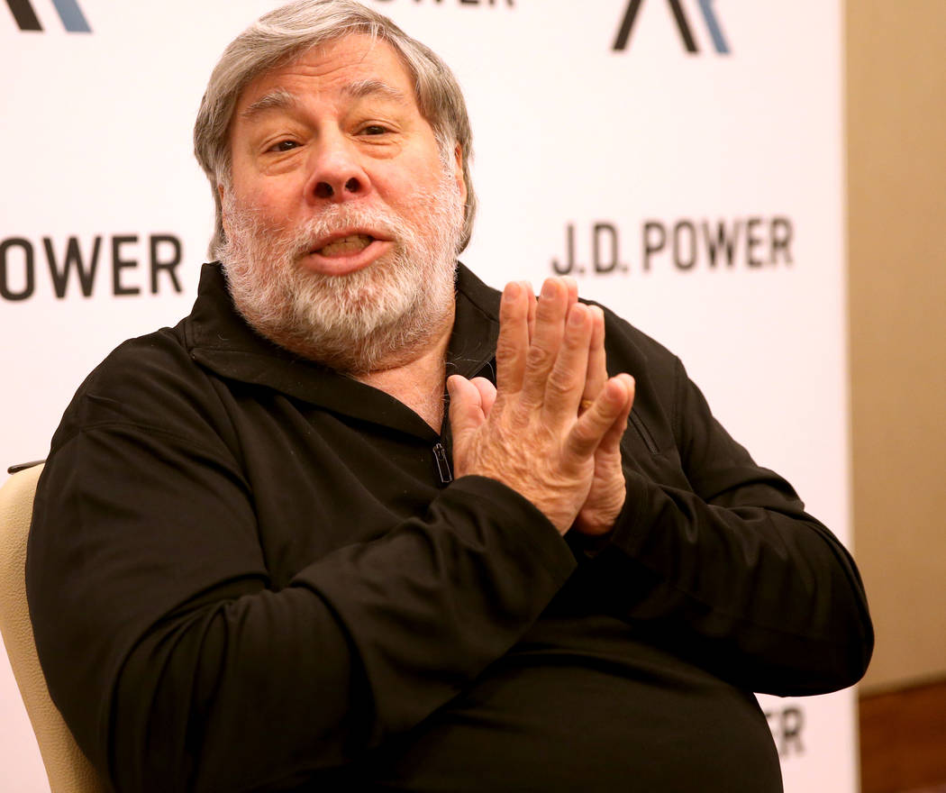 Steve Wozniak talks to the news media after delivering the keynote address during the 2019 J.D. ...