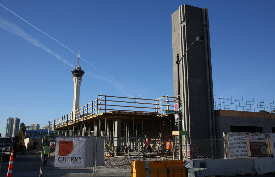 The construction site of an apartment complex at the southwest corner of Casino Center Boulevar ...