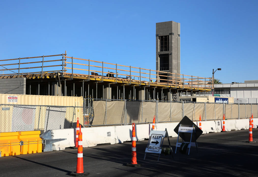 The construction site of apartment complex at the southwest corner of Casino Center Boulevard a ...