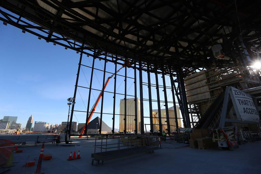 Constructions at the Raiders Allegiant Stadium in Las Vegas, Thursday, Oct. 24, 2019. (Erik Ver ...