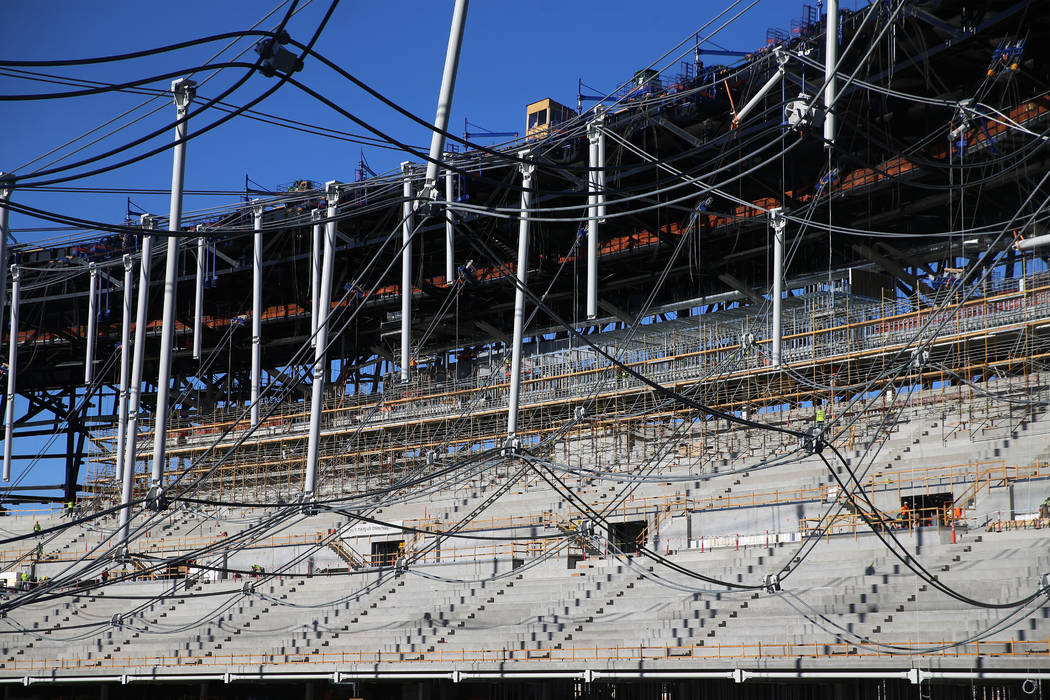 The cable net system that will support the roof at the Raiders Allegiant Stadium in Las Vegas, ...