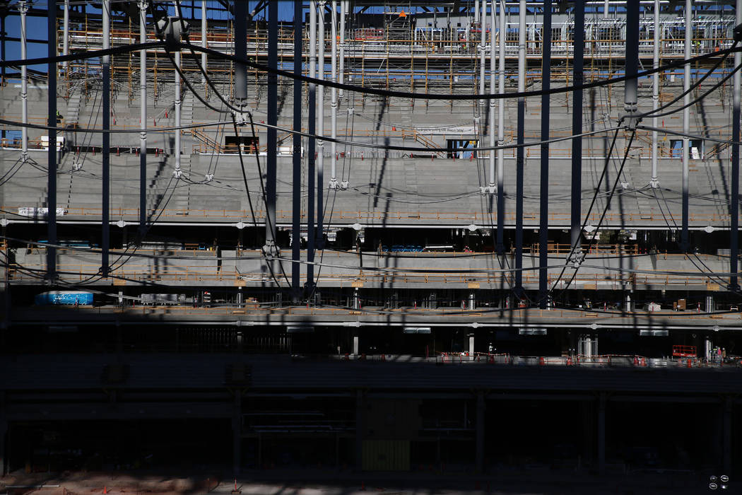 The cable net system that will support the roof at Allegiant Stadium in Las Vegas, Thursday, Oc ...