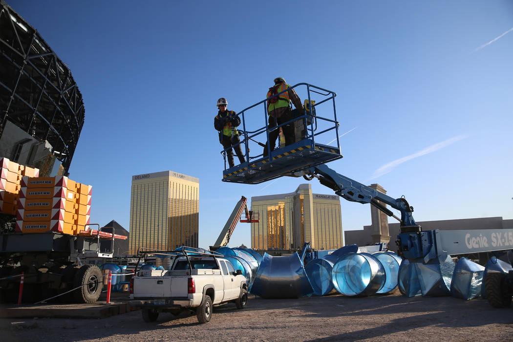 The Raiders Allegiant Stadium construction site in Las Vegas, Thursday, Oct. 24, 2019. (Erik Ve ...