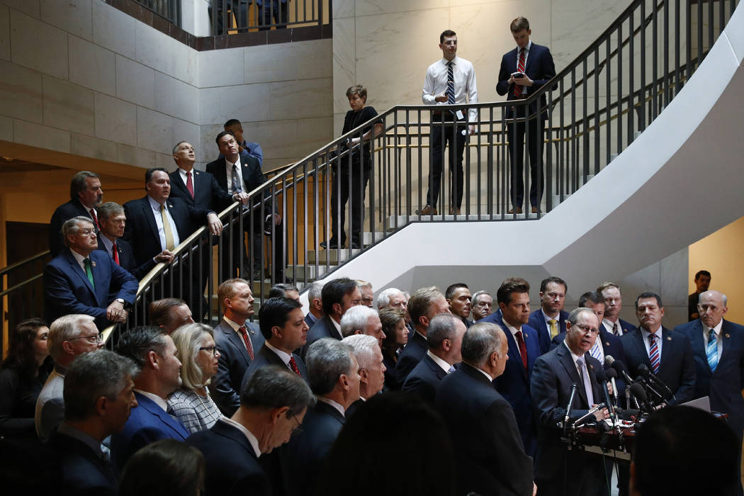 House Republicans gather for a news conference after Deputy Assistant Secretary of Defense Laur ...